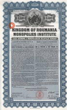 Kingdom of Roumania Monopolies Institute